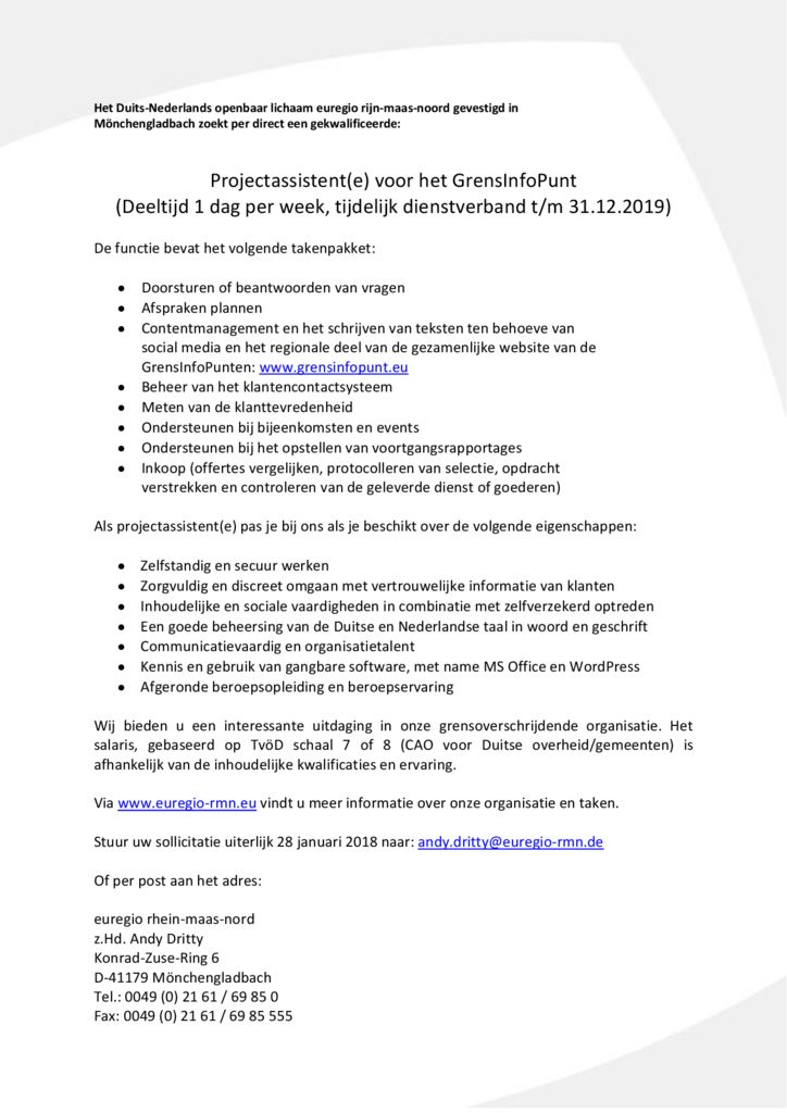thumbnail of Vacature projectassistent GrensInfoPunt